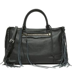Rebecca Minkoff Black Fringe Regan Satchel Bag